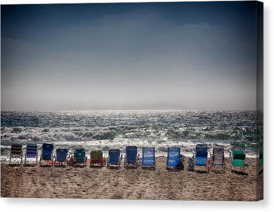 Missions San Diego Canvas Print - Chairs Watching The Sunset by Peter Tellone