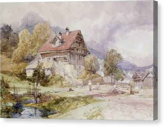 Alpine Canvas Print - Chalet, Brunnen, Lake Lucerne by James Duffield Harding