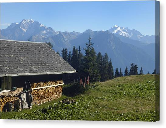 Chalet In The Swiss Alps Bettmeralp Switzerland Canvas Print