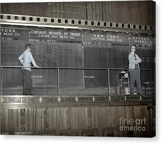 Chalk Board Of Trade 1951 Canvas Print