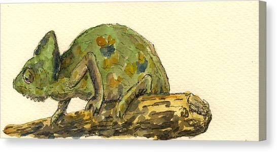 Lizard Canvas Print - Chameleon by Juan  Bosco