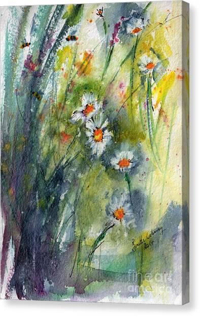 Chamomile Botanical Watercolor Canvas Print