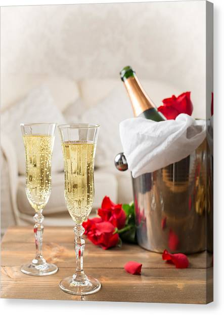 Champagne Canvas Print - Champagne And Ice Bucket by Amanda Elwell