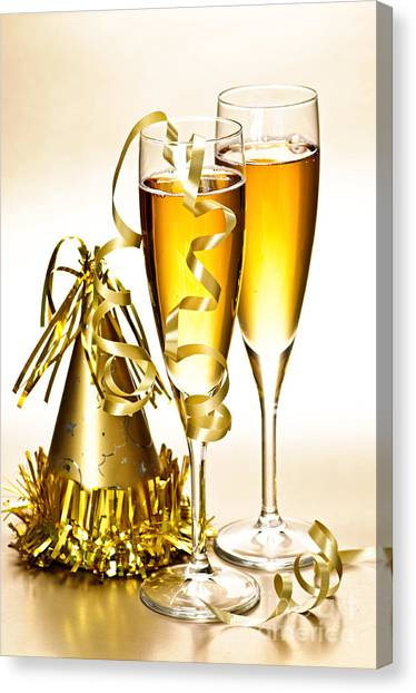 Champagne Canvas Print - Champagne And New Years Party Decorations by Elena Elisseeva