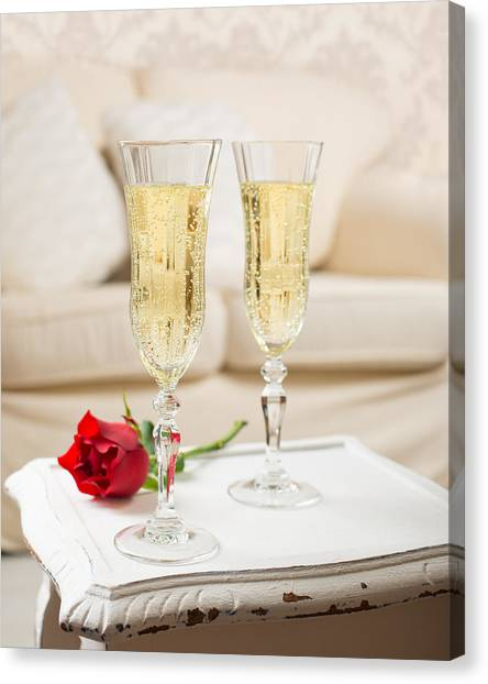 Champagne Canvas Print - Champagne And Rose by Amanda Elwell