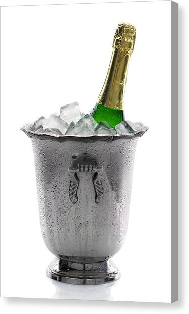 Champagne Canvas Print - Champagne Bottle On Ice by Johan Swanepoel