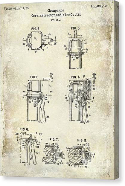 Cognac Canvas Print - Champagne  Cork Extractor And Wire Cutter Patent Drawing by Jon Neidert