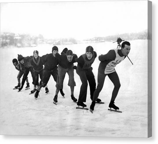 Acrobatic Canvas Print - Champion Skater In Training by Underwood Archives