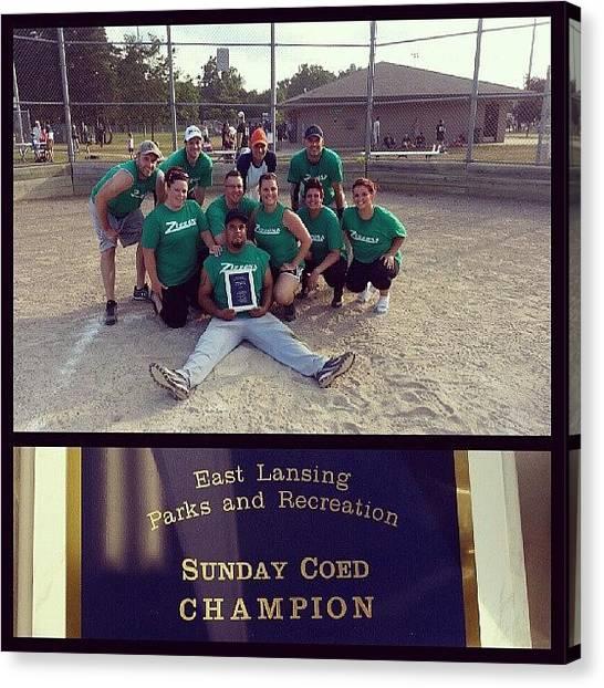 Softball Canvas Print - Champs!!! #champs #softball #winners by Chloe Darnell