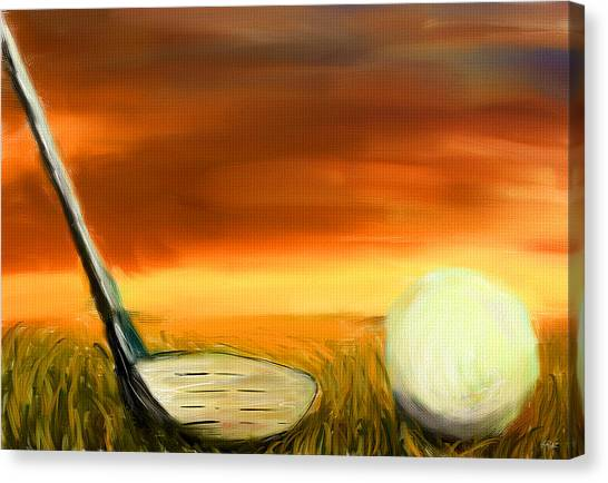 Golfers Canvas Print - Chance To Hit by Lourry Legarde
