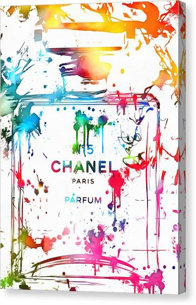 Chanel Number Five Paint Splatter Canvas Print