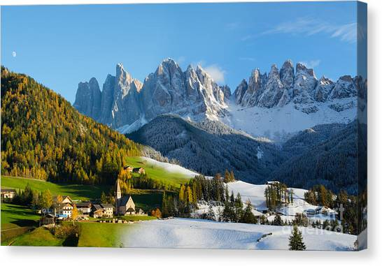 Change Of Season With Fall Turning Into Winter Canvas Print