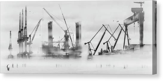 Cranes Canvas Print - Change Of Shift by Margit Lisa Roeder
