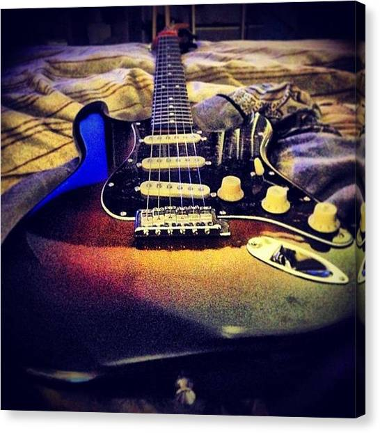 Stratocasters Canvas Print - Changed The Stock Strings To Cobalt 9z by Rj Kaneao