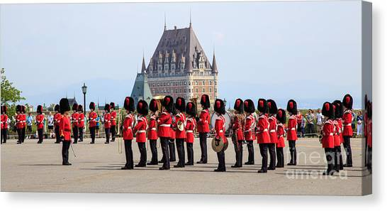 Royal Guard Canvas Print - Changing Of The Guard The Citadel Quebec City by Edward Fielding