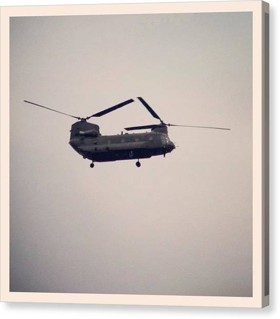 Helicopters Canvas Print - Chanook!!!!! Taken From The Front Door by Vhairi Walker