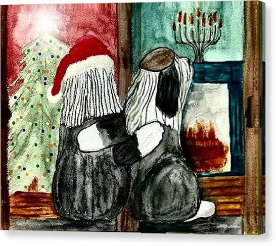 Chanukah Christmas Friends Canvas Print