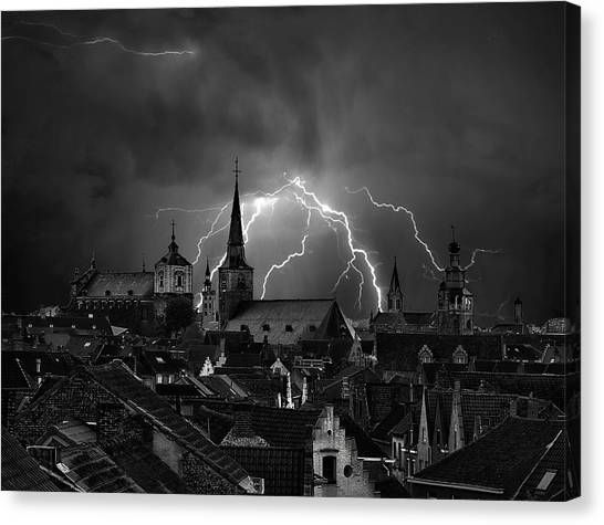 Rooftop Canvas Print - Chaos In The Sky Of Bruges by Yvette Depaepe
