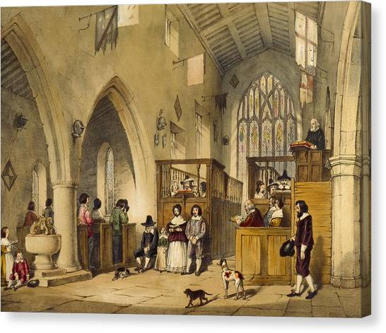House Of Worship Canvas Print - Chapel At Haddon Hall, Derbyshire by Joseph Nash