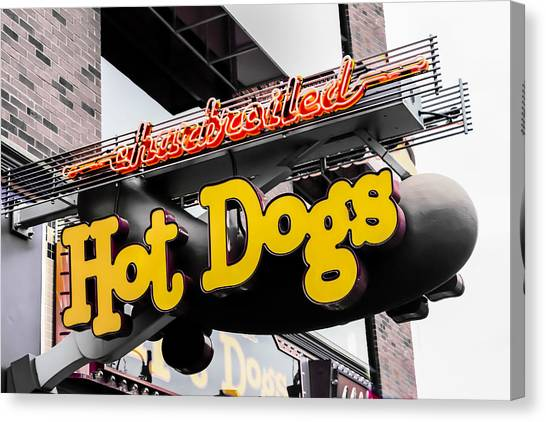 Bruce Willis Canvas Print - Charbroiled Hot Dogs by Bruce Willis