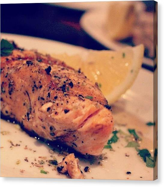 Fillet Canvas Print - Charcoal Grilled Salmon  #food #yum by Jonathan Ngo