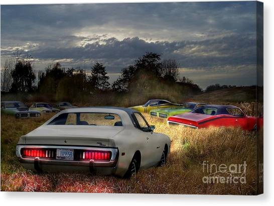 Charger Field Canvas Print by Tom Straub