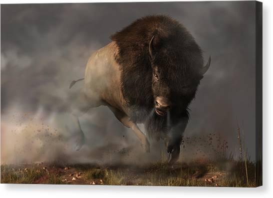 Canvas Print featuring the digital art Charging Bison by Daniel Eskridge