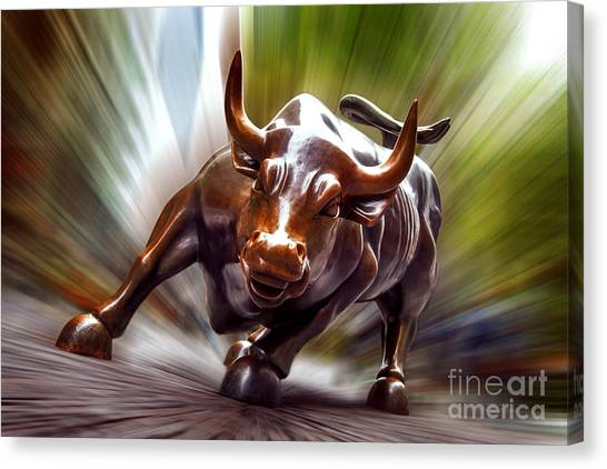 North American Canvas Print - Charging Bull by Az Jackson