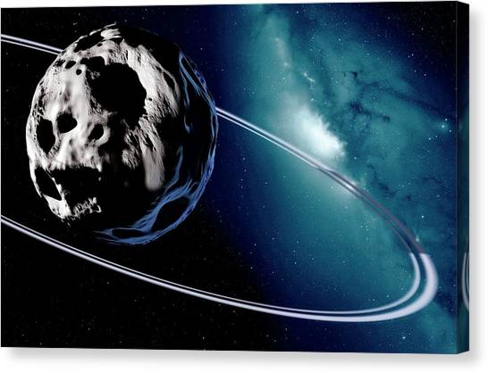 Centaurs Canvas Print - Chariklo Minor Planet And Rings by Detlev Van Ravenswaay
