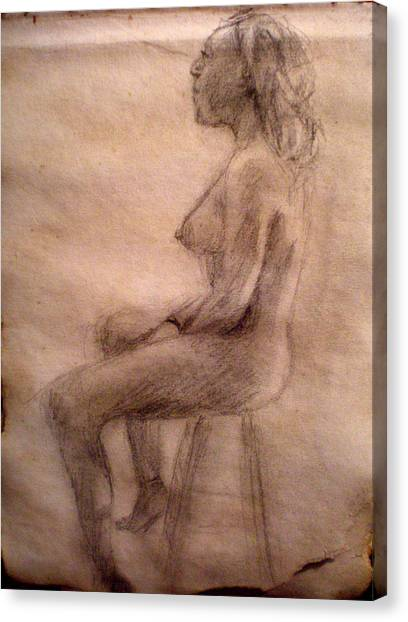 Charity Figure Drawing 3 Canvas Print by Steve Spagnola