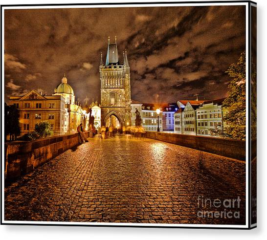 Charles Bridge At Night Canvas Print