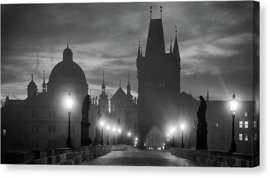 Street Lamp Canvas Print - Charles Bridge by Marcel Rebro