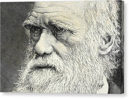 Charles Darwin Portrait Engraving Canvas Print by Rolbos