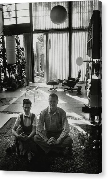 Charles Eames And Ray Eames Canvas Print by John Bryson