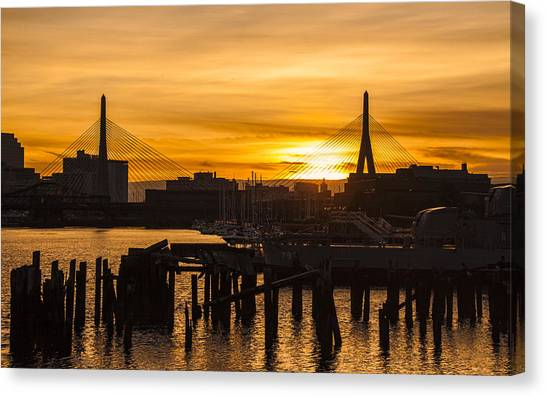 Charles River Sunset Canvas Print by T C Hoffman