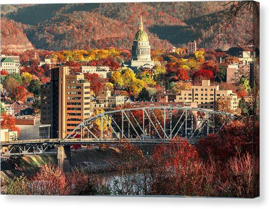 Charleston And Wv Capitol Canvas Print