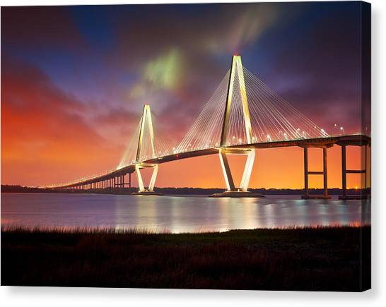 Golden Gate Bridge Canvas Print - Charleston Sc - Arthur Ravenel Jr. Bridge Cooper River by Dave Allen