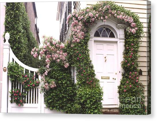 Victorian Garden Canvas Print - Charleston South Carolina Roses Arbor And Door by Kathy Fornal