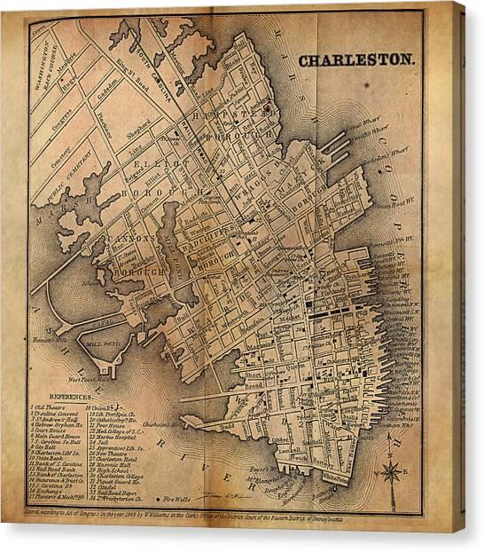 Charleston Vintage Map No. I Canvas Print