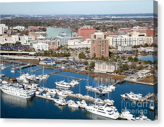 University Of South Carolina Canvas Print - Charleston Waterfront And Marina South Carolina by Bill Cobb