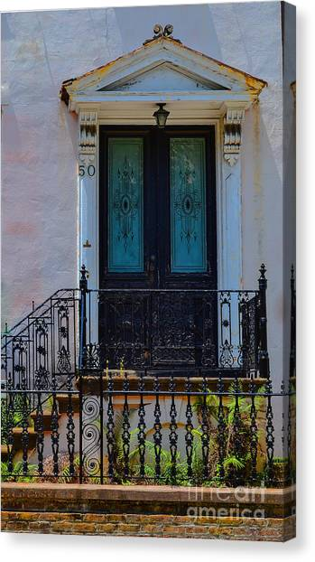 Charleston Wood Door Etched Glass Canvas Print