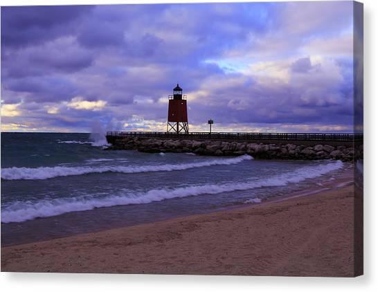 Charlevoix Lighthouse Sunset 1 Canvas Print