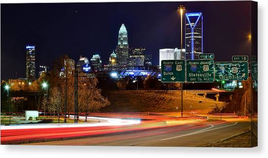 Charlotte Bobcats Canvas Print - Charlotte At Night by Frozen in Time Fine Art Photography