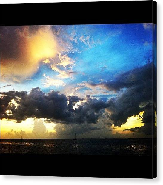 Rainclouds Canvas Print - Charlotte Harbor Skyline At #sunset by Michelle Huey