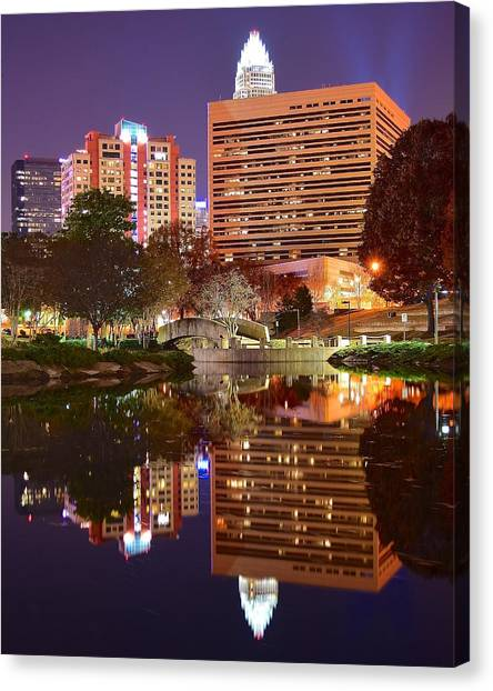 Charlotte Bobcats Canvas Print - Charlotte Night Reflection by Frozen in Time Fine Art Photography
