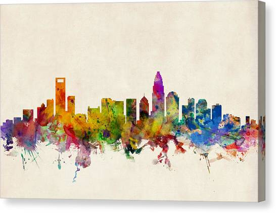 North Carolina Canvas Print - Charlotte North Carolina Skyline by Michael Tompsett
