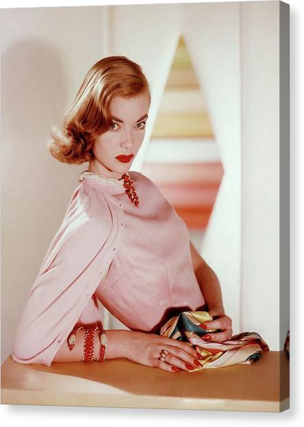 Charlotte Payne Wearing Cartier Jewelry Canvas Print by Horst P Horst