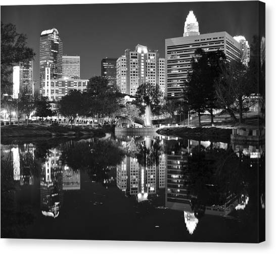 Charlotte Bobcats Canvas Print - Charlotte Reflecting In Black And White by Frozen in Time Fine Art Photography