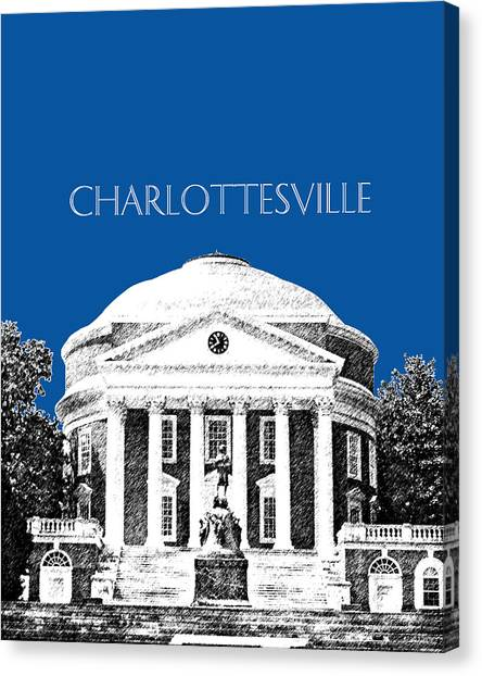 University Of Virginia Canvas Print - Charlottesville Va Skyline University Of Virginia - Royal Blue by DB Artist
