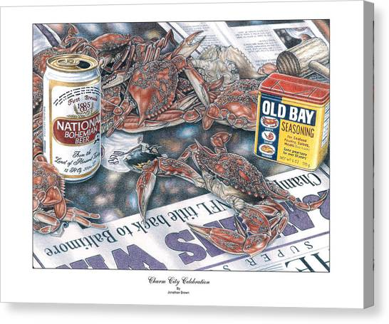 Crabs Canvas Print - Charm City Celebration by Jonathan W Brown